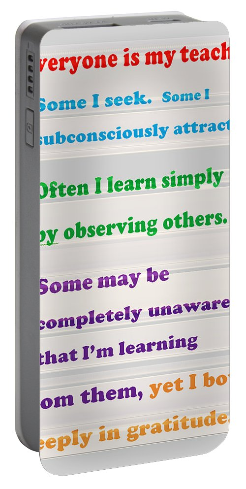 Quote Portable Battery Charger featuring the mixed media Learning Observation Teacher Student Gratitude Background Designs And Color Tones N Color Shades Av by Navin Joshi