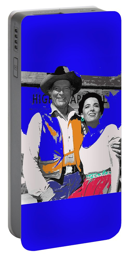 Leif Erickson Linda Cristal The High Chaparral Set Publicity Photo Old Tucson Arizona C. 1967 Portable Battery Charger featuring the photograph Leif Erickson Linda Cristal The High Chaparral Set Publicity Photo Old Tucson Arizona C. 1967-2012 by David Lee Guss