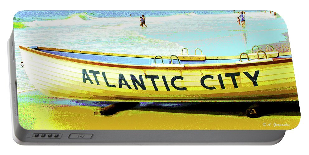 Atlantic City Portable Battery Charger featuring the digital art Lifeboat Atlantic City New Jersey by A Gurmankin