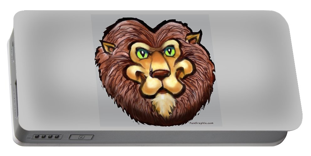 Lion Portable Battery Charger featuring the digital art Lion by Kevin Middleton