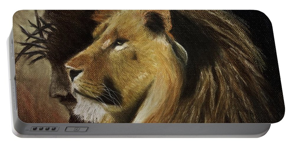 Jesus Religion Religious Lion Animal Wildlife Cat Jungle Crown Thorns Jew Jewish Beard Profile Yellow Brown Church Art Patel Shadow Savior Lord God Fur Hair Pastel Pastels Painting Portable Battery Charger featuring the pastel Lion Of Judah by Dale Bradley