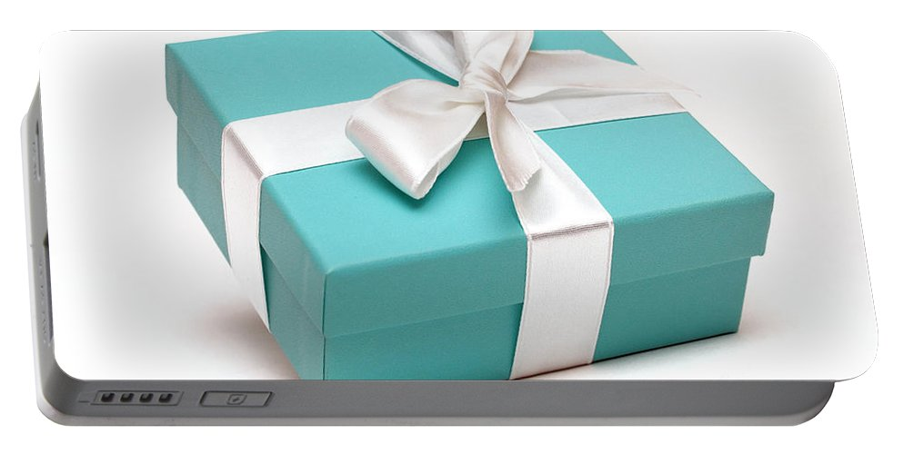 Anniversary Portable Battery Charger featuring the photograph Little Blue Gift Box by Amy Cicconi