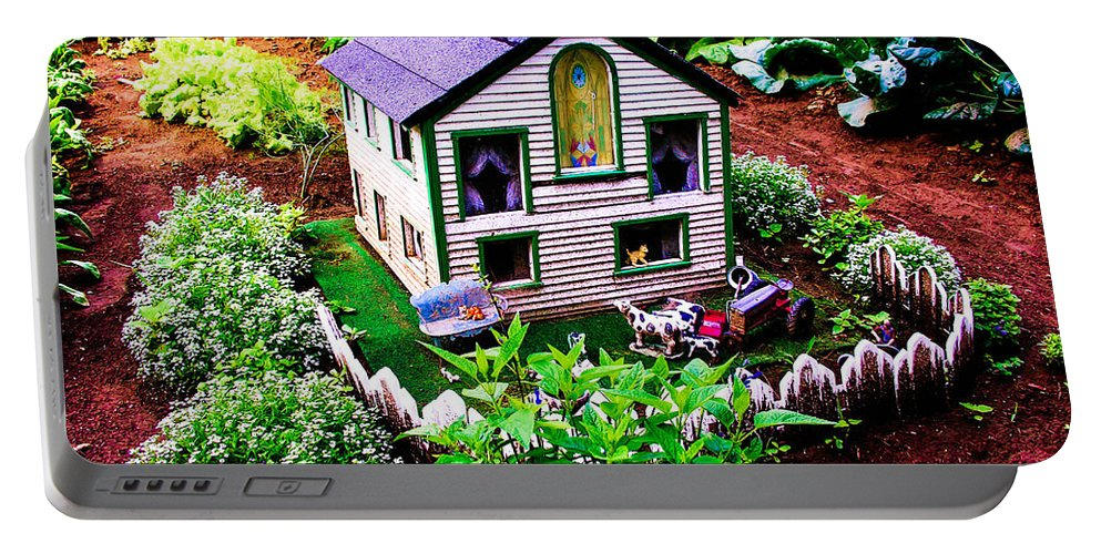 Garden Portable Battery Charger featuring the photograph Little Garden Farmhouse by Sherman Perry