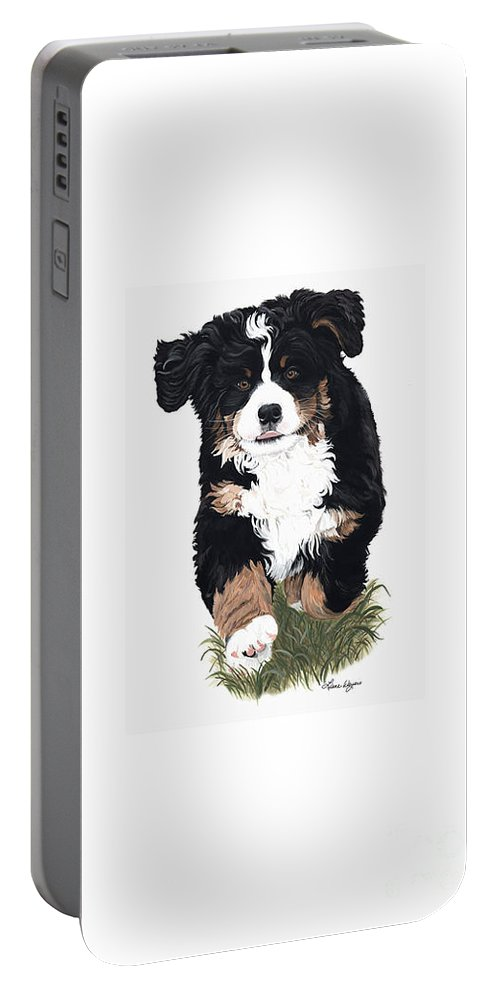 Bernese Mountain Dog Running Playing In Grass Portable Battery Charger featuring the painting Little Ms. Muffet by Liane Weyers