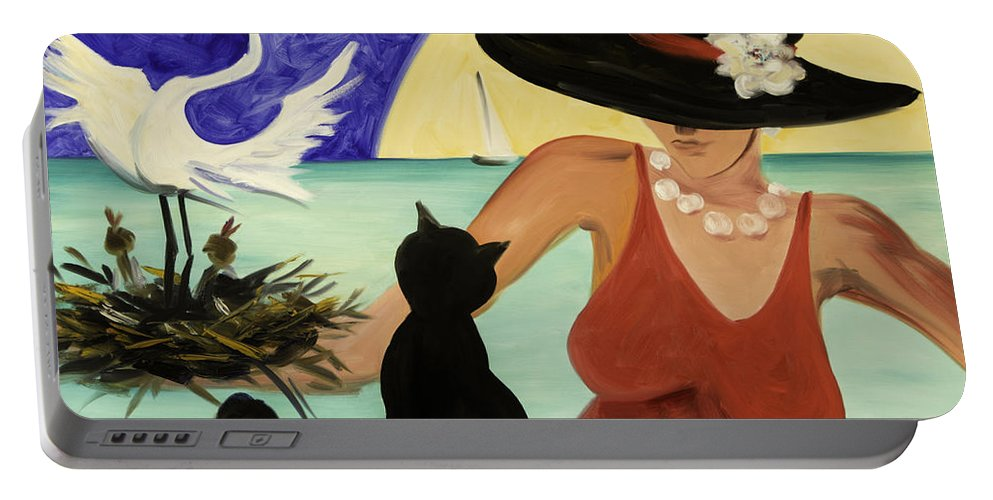 Colorful Art Portable Battery Charger featuring the painting Living The Dream by Gina De Gorna