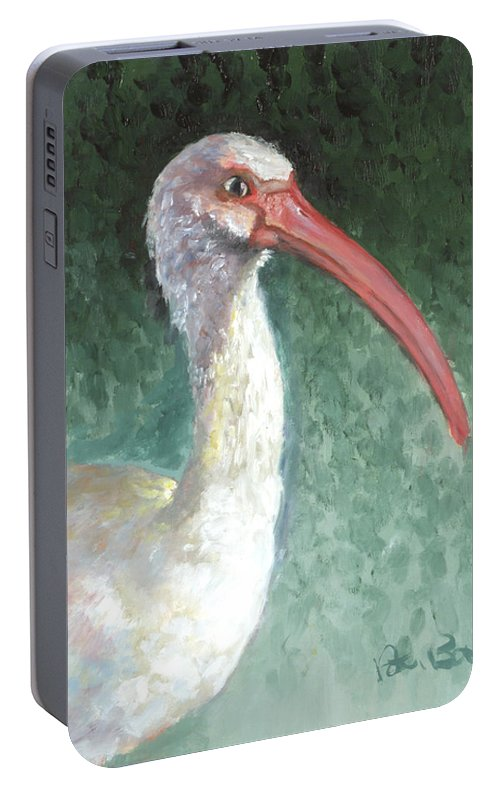 Wildlife Portable Battery Charger featuring the painting Lone Ibis by Peter Bonk