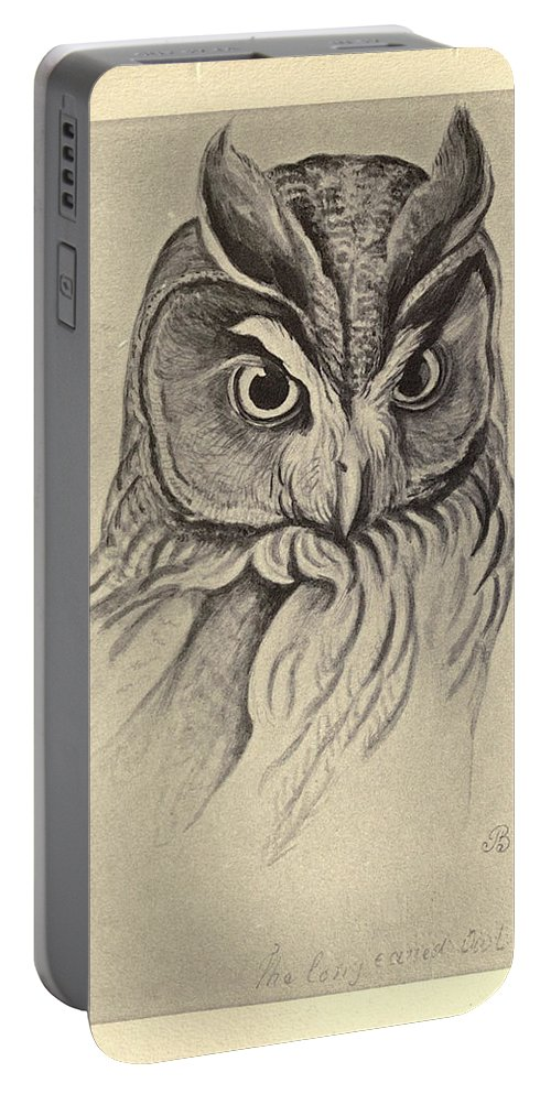 Audubon Portable Battery Charger featuring the painting Long Eared Owl by Philip Ralley