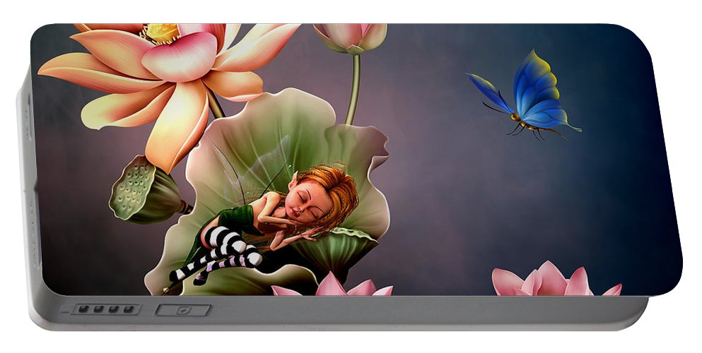 Lotus Flower Portable Battery Charger featuring the digital art Sleeping Fairy by John Junek
