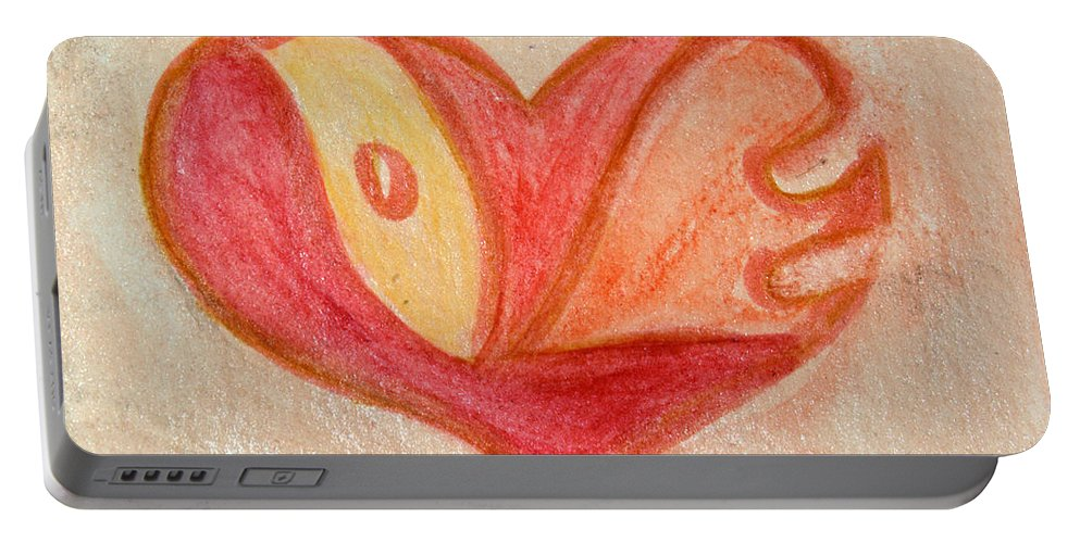 Design Portable Battery Charger featuring the painting Love Heart 6 by Donna Walsh