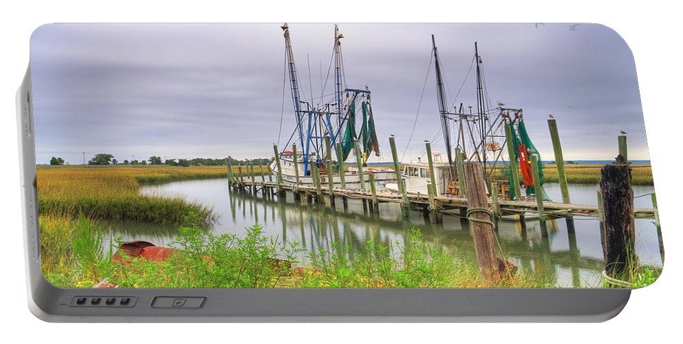 Shrimp Boats Portable Battery Charger featuring the photograph Lowcountry Shrimp Dock by Scott Hansen