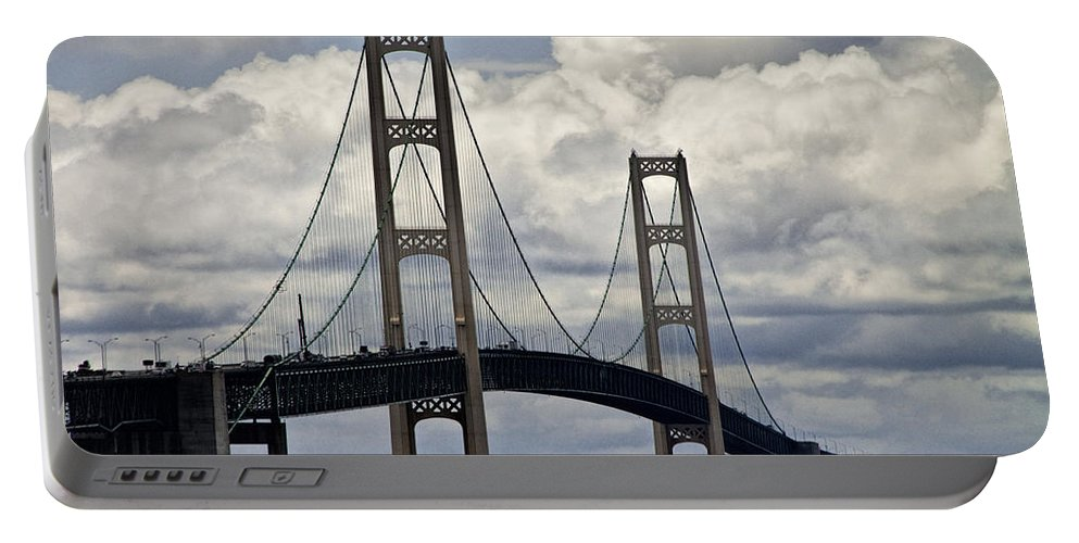 Art Portable Battery Charger featuring the photograph Mackinaw Bridge By The Straits Of Mackinac by Randall Nyhof