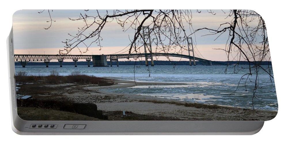 Mackinaw Bridge Portable Battery Charger featuring the photograph Majestic by Linda Kerkau