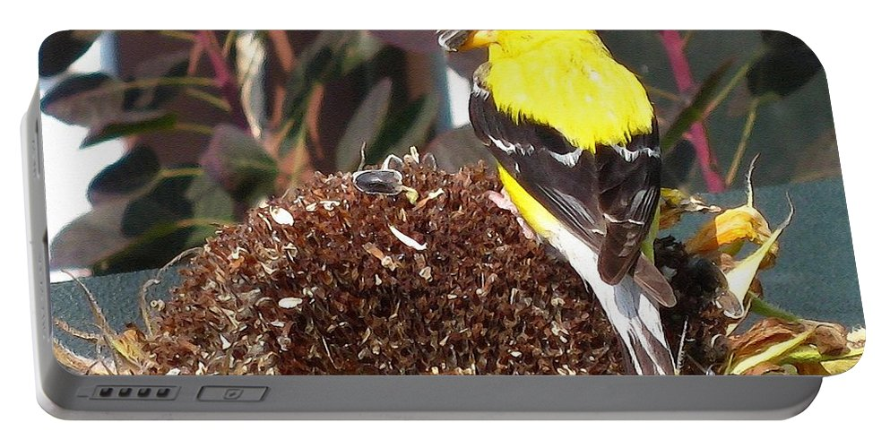 American Goldfinch Portable Battery Charger featuring the painting Male American Goldfinch by J McCombie