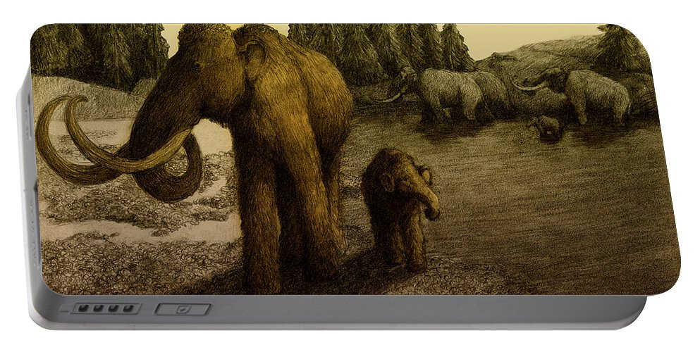 Woolly Mammoth Portable Battery Charger featuring the photograph Mammoths by Spencer Sutton