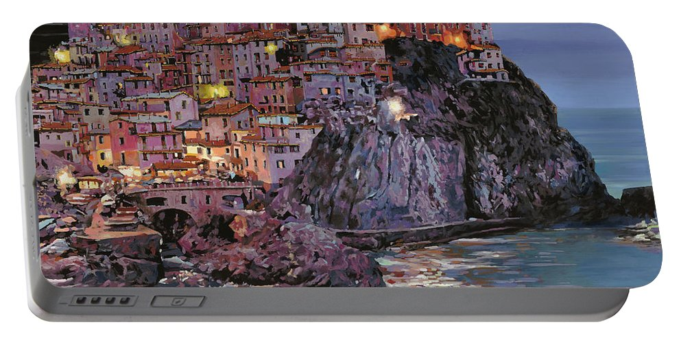 Manarola Portable Battery Charger featuring the painting Manarola al crepuscolo by Guido Borelli