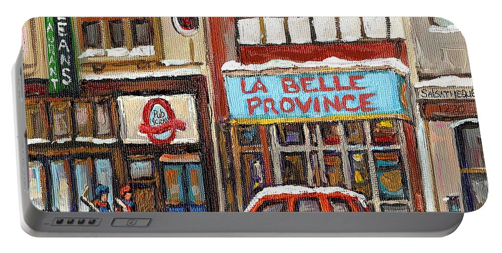 Montreal Portable Battery Charger featuring the painting Mcleans Irish Pub Montreal by Carole Spandau