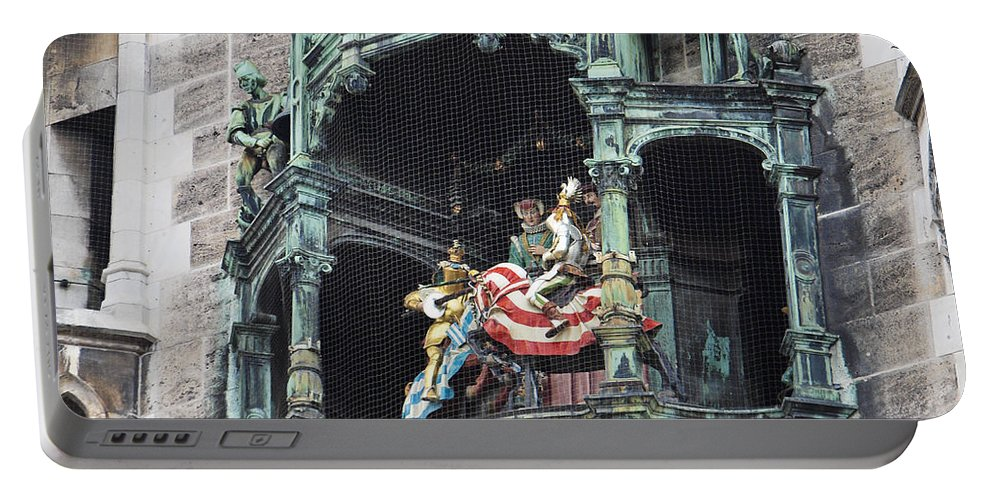 Glockenspiel Portable Battery Charger featuring the photograph Mechanical Clock In Munich Germany by Howard Stapleton