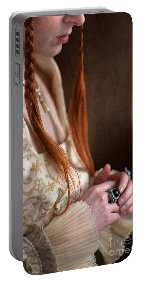 Medieval Portable Battery Charger featuring the photograph Medieval Tudor Woman With Red Hair by Lee Avison
