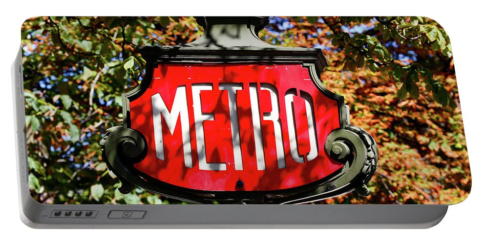 Photography Portable Battery Charger featuring the photograph Metro Sign, Paris, France by Panoramic Images