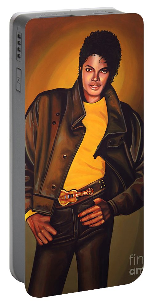 Michael Jackson Portable Battery Charger featuring the painting Michael Jackson by Paul Meijering