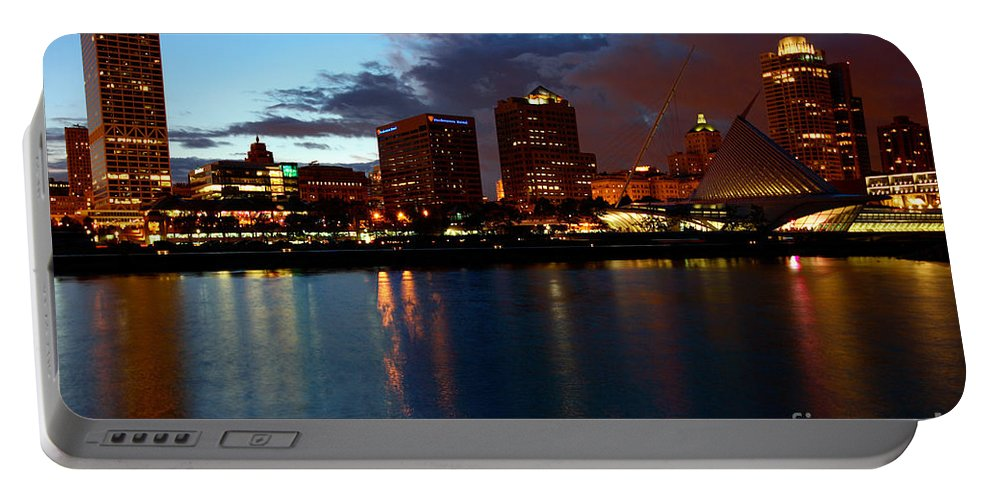 Norhtwestern Mutual Portable Battery Charger featuring the photograph Milwaukee Skyline At Dusk by Bill Cobb