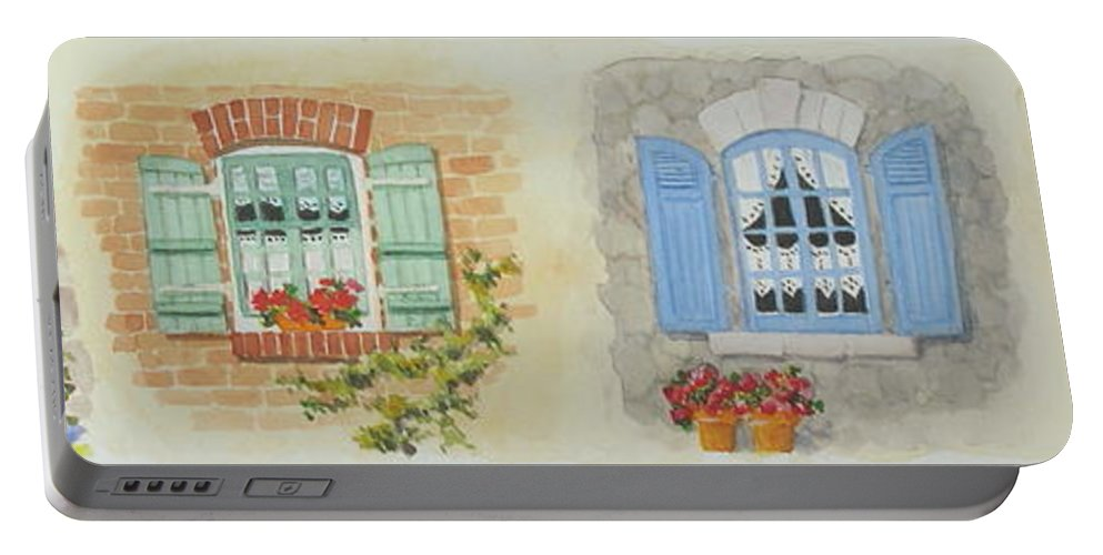 Windows Portable Battery Charger featuring the painting Miniature Paintings Of Brittany's Windows by Mary Ellen Mueller Legault