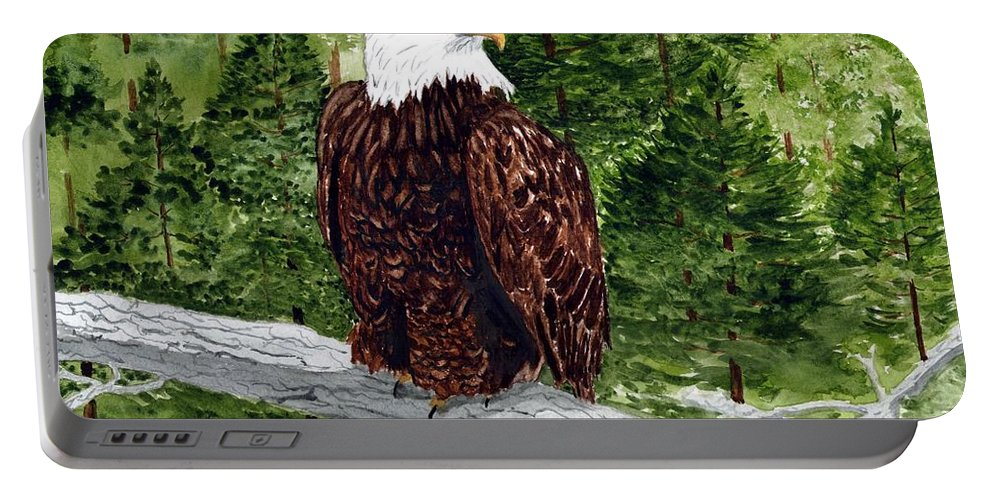 Eagle Portable Battery Charger featuring the painting Mom Decorah by B Kathleen Fannin