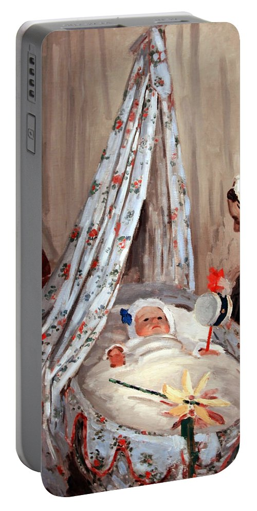 The Cradle Portable Battery Charger featuring the photograph Monet's The Cradle -- Camille With Artist's Son Jean by Cora Wandel