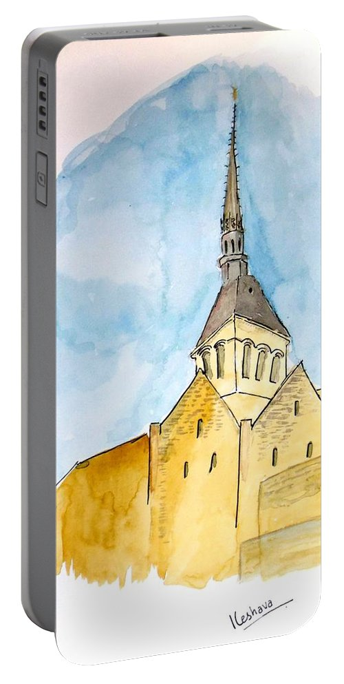Portable Battery Charger featuring the painting Mont Saint Micheal by Keshava Shukla
