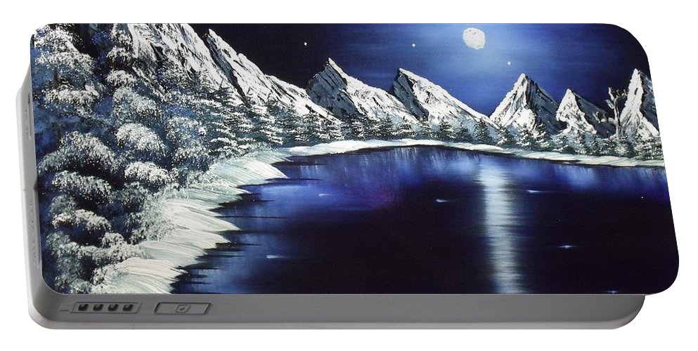 Landscape Lake Moon Mountains Portable Battery Charger featuring the painting Moon Lake by Don Bowling