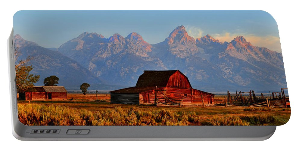Mormon Row And The Grand Tetons Portable Battery Charger featuring the photograph Mormon Row And The Grand Tetons by Ken Smith