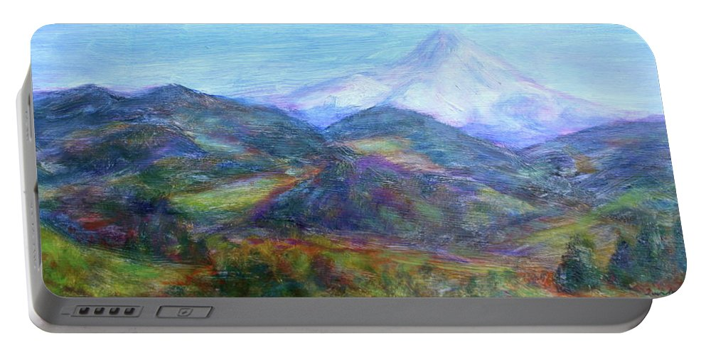 Quin Sweetman Paintings Portable Battery Charger featuring the painting Mountain Patchwork by Quin Sweetman