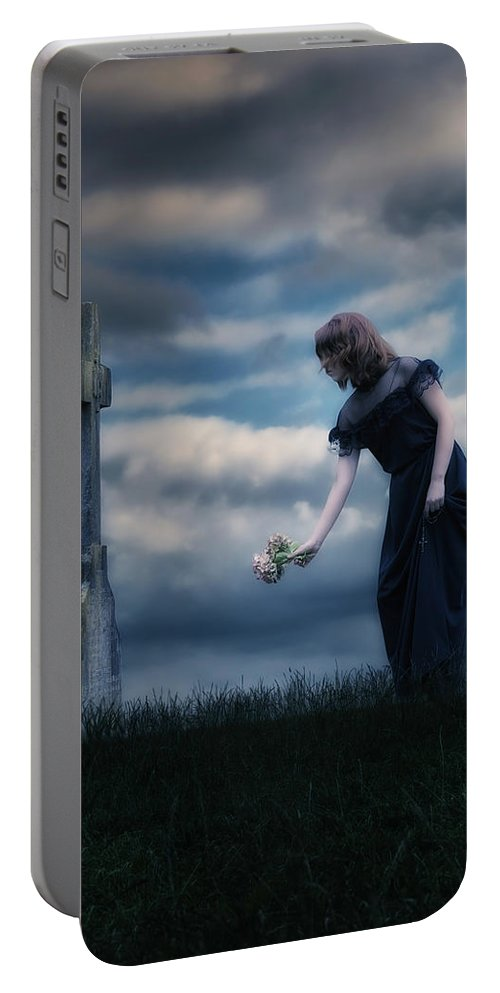 Girl Portable Battery Charger featuring the photograph Mourning by Joana Kruse