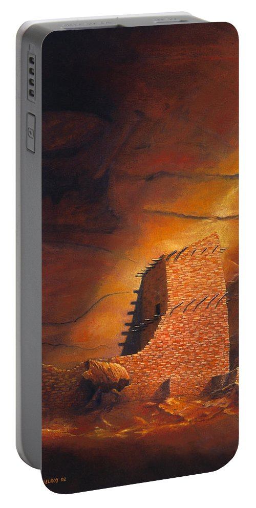 Mummy Cave Ruins Portable Battery Charger featuring the painting Mummy Cave Ruins by Jerry McElroy