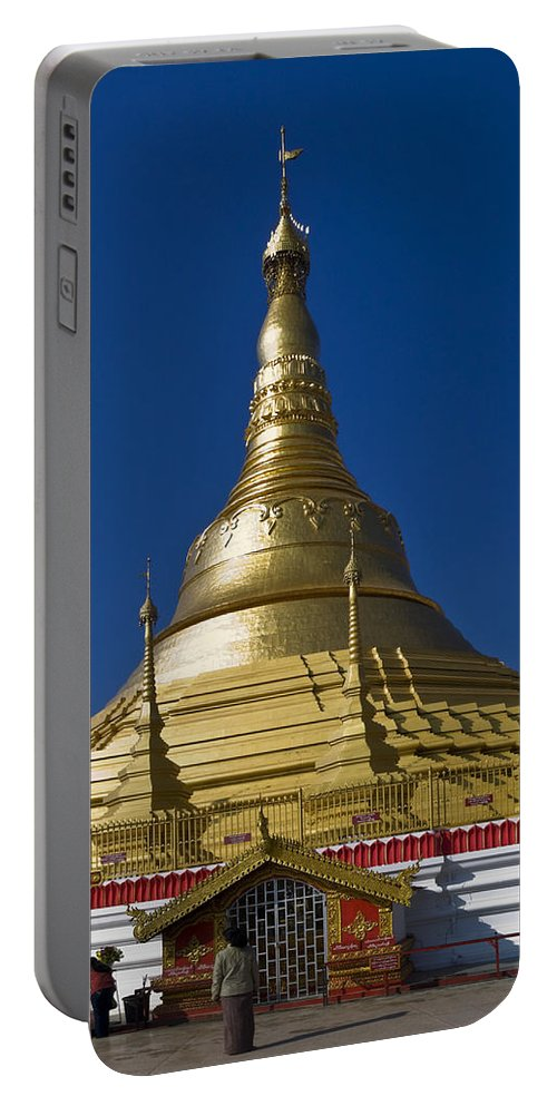 Shan-style Temple Painted Gold Portable Battery Charger featuring the photograph Myanmar Temple by Sally Weigand