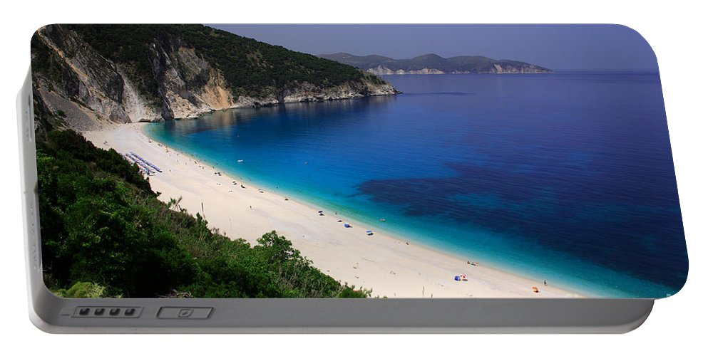Azure Portable Battery Charger featuring the photograph Myrtos Beach by Deborah Benbrook