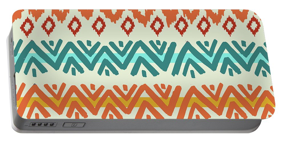 Navajo Portable Battery Charger featuring the digital art Navajo Mission Round by Nicholas Biscardi