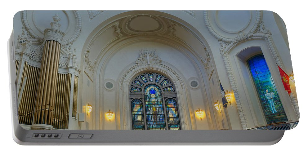 Academy Portable Battery Charger featuring the photograph Naval Academy Chapel Side Portal by Mark Dodd