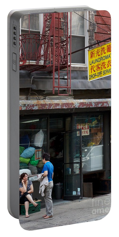 America Portable Battery Charger featuring the photograph New York Chinese Laundromat Sign by Jannis Werner