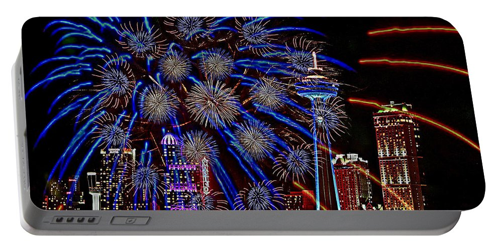 Niagara Falls Portable Battery Charger featuring the photograph Niagara Fireworks by Alice Gipson