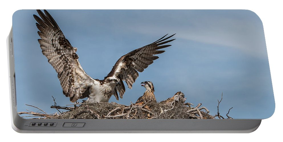 Nest Portable Battery Charger featuring the photograph Osprey Arriving Home by Patti Deters