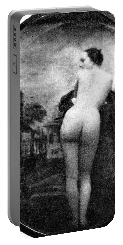 1843 Portable Battery Charger featuring the photograph Nude Posing: Rear View by Granger