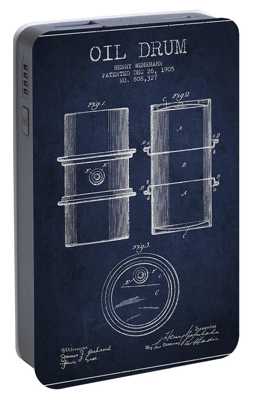 Oil Portable Battery Charger featuring the digital art Oil Drum Patent Drawing From 1905 by Aged Pixel
