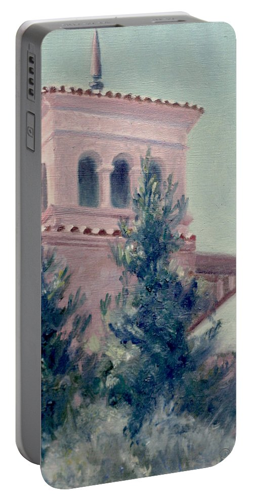Landscape Portable Battery Charger featuring the painting Old Bell Tower by Sarah Parks