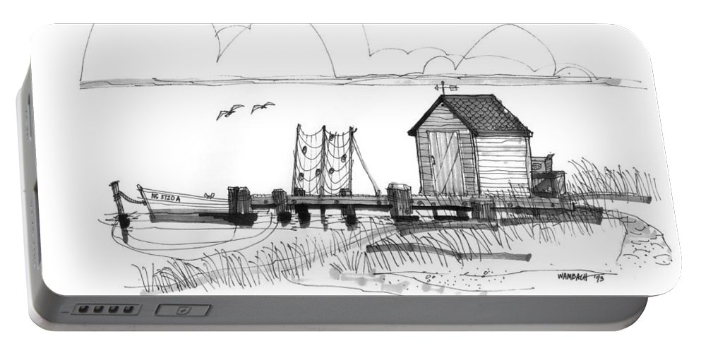 Ocracoke Portable Battery Charger featuring the drawing Old Fishermans Wharf by Richard Wambach