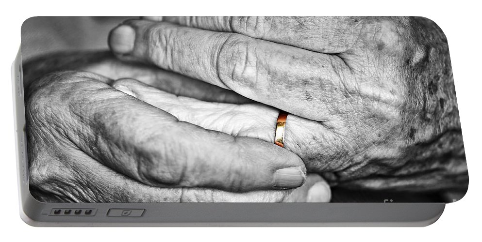 Old Portable Battery Charger featuring the photograph Old Hands With Wedding Band by Elena Elisseeva