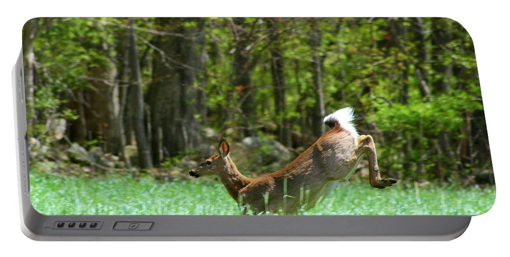 Deer Running Portable Battery Charger featuring the photograph On The Run by Neal Eslinger