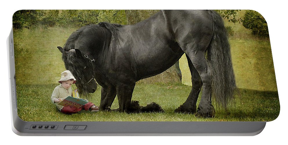 Friesian Portable Battery Charger featuring the photograph Once Upon A Time by Fran J Scott