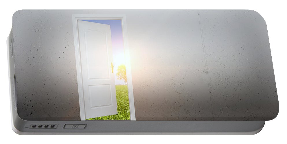 Door Portable Battery Charger featuring the photograph Open Door To A New World by Michal Bednarek