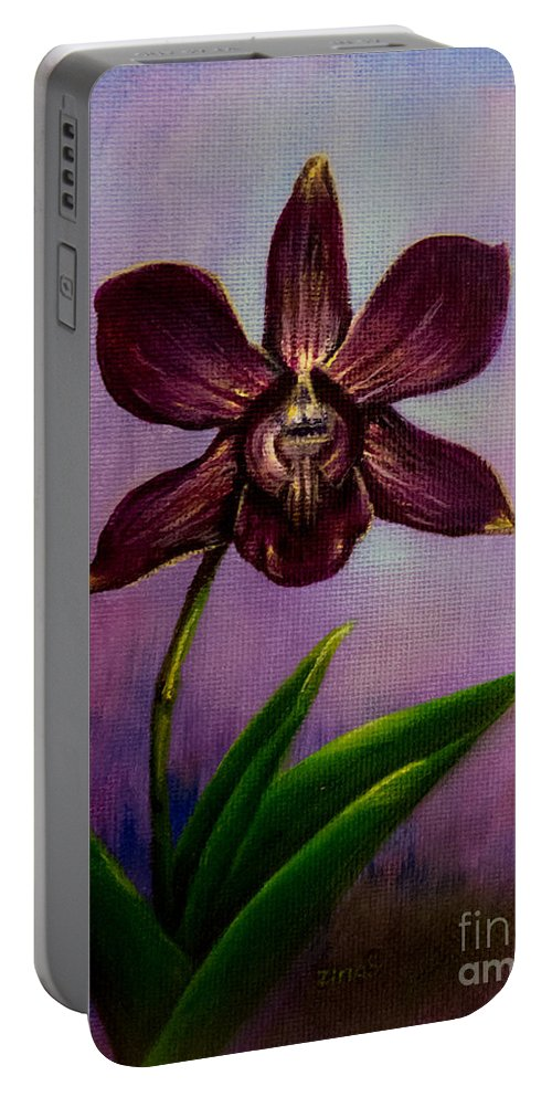 Art Portable Battery Charger featuring the painting Orchid by Zina Stromberg